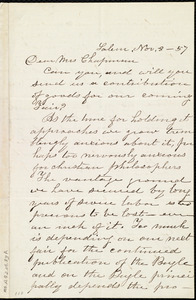 Letter from Emily Robinson, Salem, [Ohio], to Maria Weston Chapman, Nov. 8, [18]57