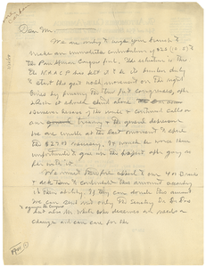 Letter from Pan-African Congress to unidentified correspondent