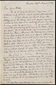 Letter from Samuel May, Leicester, Mass., to Richard Davis Webb, August 7, 1859