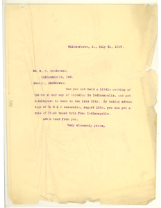 Thumbnail for Letter from W. E. B. Du Bois to W. B. Henderson
