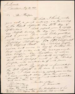Letter from Joshua Leavitt, Providence, to Amos Augustus Phelps, Aug. 20, 1842