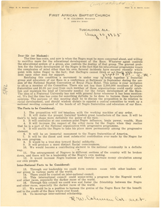 Circular letter from First African Baptist Church to W. E. B. Du Bois