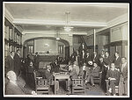 """[African American men in the lobby of the """"Chicago colored Y.M.C.A.""""]"""