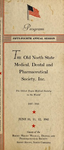 Program of the ... annual session of The Old North State Medical, Dental and Pharmaceutical Society [serial], 54th(1941)