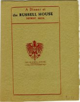 Half-folded Russell House dinner menu, dated Tuesday, October 28, 1902, printed on mustard-colored paper
