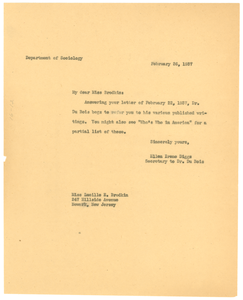 Letter from Ellen Irene Diggs to YWCA of Atlanta