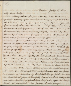 Letter from William Lloyd Garrison, Boston, [Mass.], to Richard Davis Webb, July 1, 1847