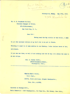 Letter from Mrs. R. Duncan Scott to W. E. B. Du Bois