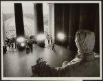 Emancipator looks down on demonstrators