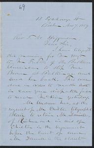 John W. LeBarnes autograph letter signed to Thomas Wentworth Higginson, Boston, 7 November 1859