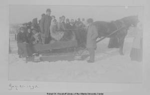 Photograph of the Atlanta University Class of 1893 on a sleigh ride, Atlanta, Georgia, 1893 January 21