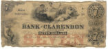 Bank of Clarendon seven-dollar note, 1855