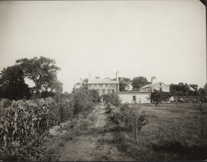 Exterior view of the garden and west facade, Royall House, Medford, Mass., undated