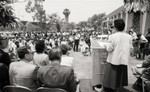 California African American Museum Director Aurelia Brooks addressing a crowd, Los Angeles, 1983