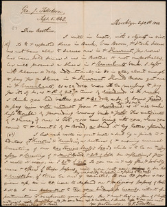 Letter from George Jeffrey Tillotson, Brooklyn, [Conn.], to Amos Augustus Phelps, 1842 Sept[ember] 5th