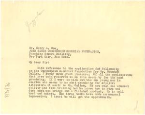 Letter from W. E. B. Du Bois to John Simon Guggenheim Memorial Foundation