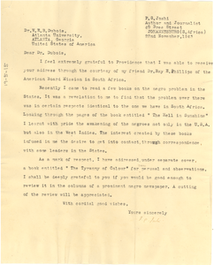 Letter from P. S. Joshi to W. E. B. Du Bois