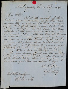 Jesse King, Milledgeville, Ga., autograph letter signed to Ziba B. Oakes, 19 February 1854