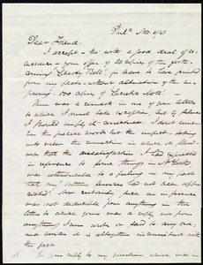 Letter from James Miller M'Kim, Phil[adelphi]a, to Maria Weston Chapman, Nov. 6/[18]43