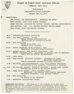 Agenda of the Affirmative Action Conference, May 13, 1977