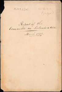 Report of the Committee on Colonization, March 1829