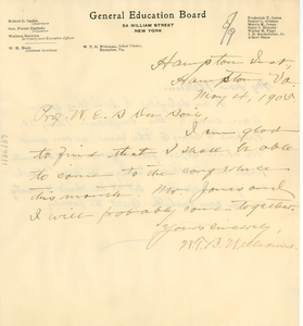 Thumbnail for Letter from W. T. B. Williams to W. E. B. Du Bois