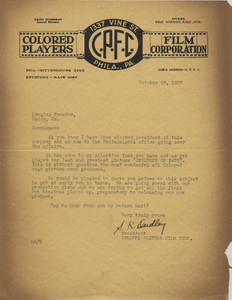 Letter: Philadelphia, Pennsylvania to Douglass Theatre, Macon, Georgia, 1927 Oct. 28