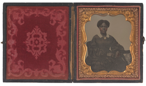 Ambrotype of Ann Hurst Copeland in an embossed leather case