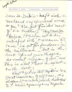 Letter from Emma Albach to W. E. B. Du Bois