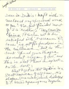 Letter from Emma Albach to W. E. B. Du Bois