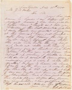 A. J. McElveen, Sumterville, S.C., autograph letter signed to Ziba B. Oakes, 13 January 1855