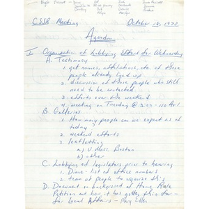 Coalition for school system reform agenda and meeting notes, October 18, 1973.