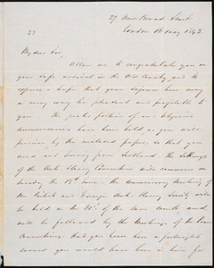 Letter from John Scoble, London, to Amos Augustus Phelps, 16 May 1843