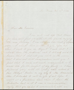Letter from Thomas H. Jones, New Haven, to William Lloyd Garrison, Feb[ruary] 16th 1854