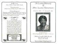 In loving memory of Mrs. Luana Spearman, funeral service, Wednesday, January 11, 1995 - 11:00 a.m., Phillips Temple CME Church, 2050 Germantown St., Dayton, OH 45408, reverend James Washington, pastor, reverend Arthur Smiley, officiant