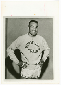 Contact print of Dick Howard wearing New Mexico Track sweatshirt