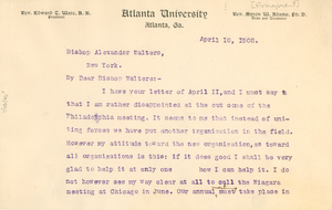 Letter from W. E. B. Du Bois to Alexander Walters [fragment]