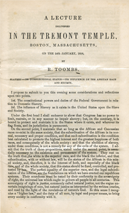 A lecture delivered in the Tremont Temple, Boston, Massachusetts, on the 24th January, 1856 Slavery--its constitutional status--its influence on the African race and society