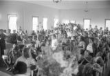 Audience in a church building, probably First Baptist Church in Eutaw, Alabama.