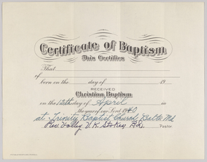 Certificate of baptism signed by Rev. Volley V. K. Stokes