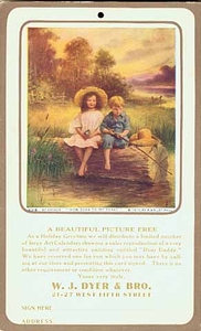 Advertisement for W.J. Dyer & Brothers, St. Paul; offering free calendar published by Brown & Bigelow