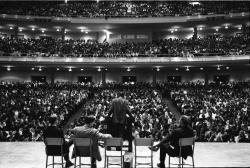 Stokely Carmichael at Hill Auditorium - view from back of stage over crowd, 27 September 1966 (Negative 35-35A)