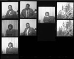 Set of negatives by Clinton Wright including Glora Roam, Bob Mabry, preacher's rally, Variety Club luncheon, Jo Mackey trophy case, and Whistle Cleaner's advertisement, 1967