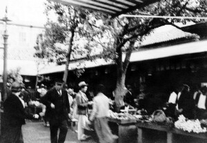 View of a street market.