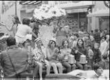 Spring Weekend parade float, Delta Phi Zeta sorority, Ithaca College, Ithaca, NY, close view from the Southeast, taken April 27, 1968.