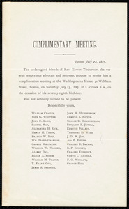 Invitation to a complimentary meeting, Boston, July 12, 1887