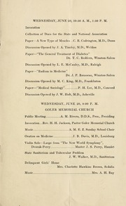 Program of the ... annual session of the North Carolina Medical, Pharmaceutical and Dental Association [serial], 36th(1923)