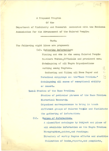 A proposed program of the Department of Publicity and Research connected with the National Association for the Advancement of the Colored People