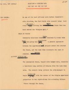 News Script: Election & Ridglea wall NBC News Scripts