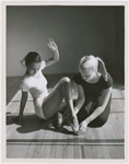 Actress Dorothy Dandridge (left) with dance instructor Olga Lunick, circa 1951